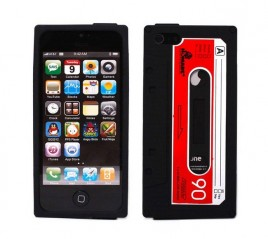 GratisDeal Retro-Kasetten-Case für iPhone 5 5S 5C in Schwarz